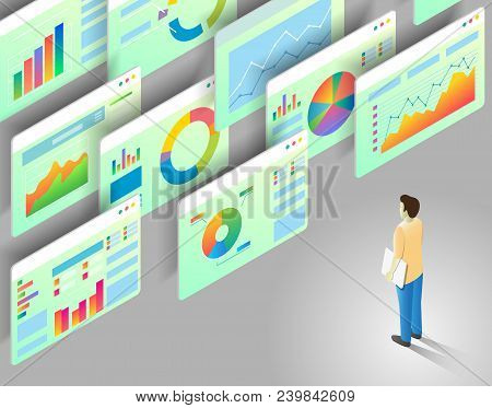 Data Analytics Concept. Vector Isometric Illustration Of Man Looking At Business Statistics Charts A