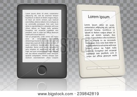 White And Black E-book Reader Mockup Set. Vector Realistic Illustration Isolated On Transparent Back