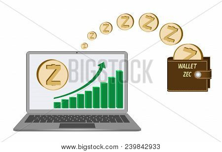 Transfer Zcash Coins From Laptop In The Wallet On A White Background,growth Diagram With Coin Of Zca