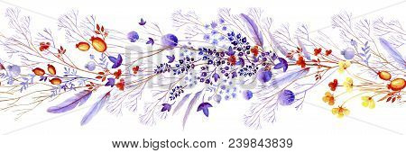 Watercolor Border Clipart Of Lilac Nature Elements. Clipart Consist Of Berries, Flowers, Leaves, Fea