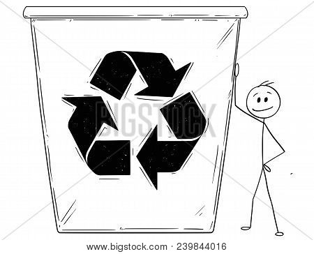 Cartoon Stick Man Drawing Conceptual Illustration Of Businessman Leaning On Big Recycle Bin. Busines
