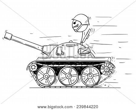 Cartoon Stick Man Drawing Conceptual Illustration Of Man In Small Tank Or Tankette Going To Enjoy Th
