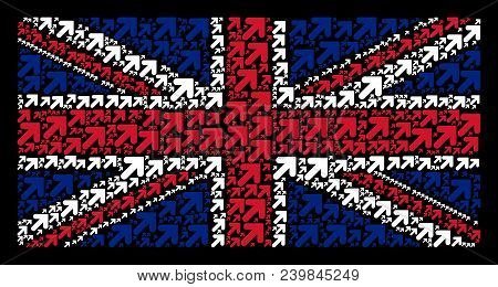 Great Britain State Flag Pattern Created Of Arrow Up Right Elements On A Dark Background. Vector Arr