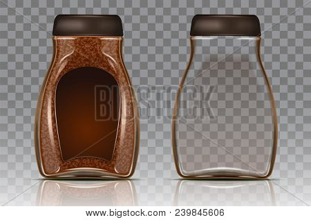 Coffee Glass Jar With Instant Coffee Granules And Empty Jar. Vector Realistic Illustration Isolated