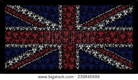 Great Britain Flag Concept Made Of Biohazard Elements On A Dark Background. Vector Biohazard Element