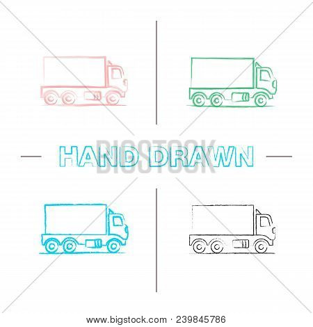 Delivery Truck Hand Drawn Icons Set. Color Brush Stroke. Freight Transport. Isolated Vector Sketchy
