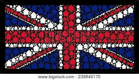 English State Flag Composition Constructed Of Cabin Design Elements On A Dark Background. Vector Cab