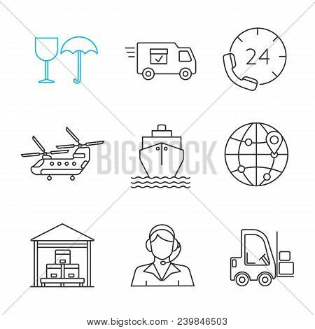 Cargo Shipping Linear Icons Set. Fragile, Delivery Van, Hotline, Helicopter, Vessel, Globe, Warehous