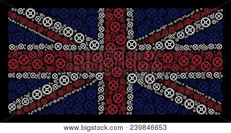 United Kingdom Flag Collage Designed Of Clock Gear Elements On A Dark Background. Vector Clock Gear
