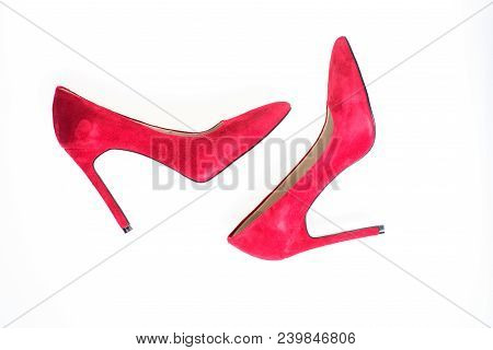 Luxury Footwear Concept. Footwear With Thin High Heels, Stiletto Shoes, Top View. Shoes Made Out Of