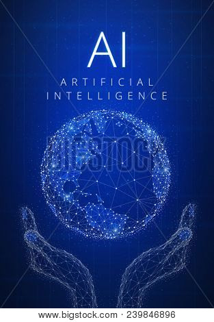 Artificial intelligence and cyber space concept futuristic hud background with glowing polygon world globe in hands, blockchain peer to peer network and title AI. Global cryptocurrency banner concept.
