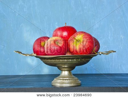 Vintage Vase And Red Apples