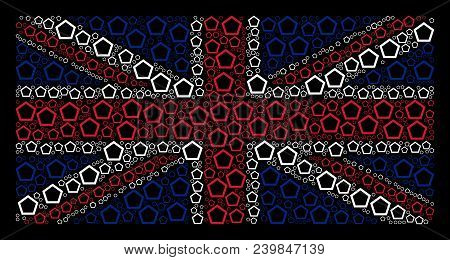 United Kingdom State Flag Composition Done Of Contour Pentagon Elements On A Dark Background. Vector