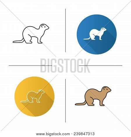 Ferret Icon. Flat Design, Linear And Color Styles. Polecat. Isolated Vector Illustrations