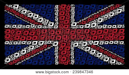 English State Flag Concept Made Of Dash Currency Pictograms On A Dark Background. Vector Dash Curren