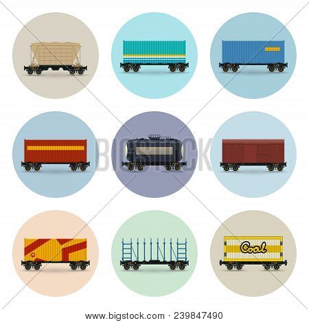 Set Of Freight Railway Icons, Covered And Wagon For Coal, Container On Railroad Platform, Platform F