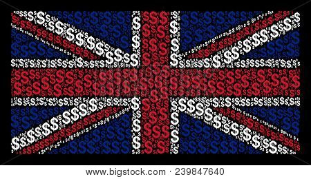United Kingdom Flag Concept Designed Of Dollar Icons On A Dark Background. Vector Dollar Items Are U