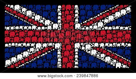 Great Britain Flag Concept Created Of Elephant Pictograms On A Dark Background. Vector Elephant Item