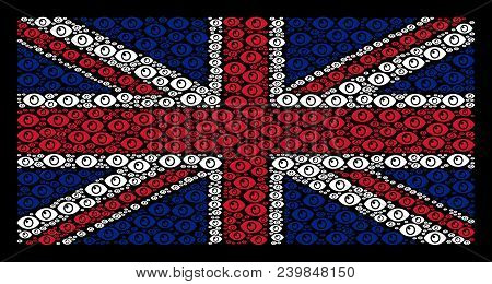 Great Britain Flag Composition Created Of Eye Design Elements On A Dark Background. Vector Eye Eleme