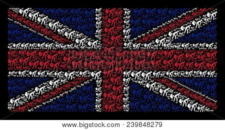 Uk Flag Collage Organized Of Fart Gases Pictograms On A Dark Background. Vector Fart Gases Items Are