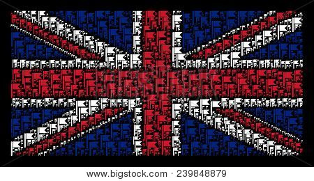 Uk State Flag Pattern Combined Of Flag Pictograms On A Dark Background. Vector Flag Icons Are Combin