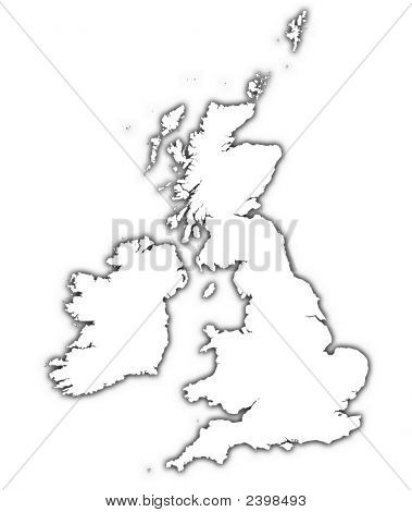 Great Britain Outline Map With Shadow