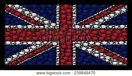 British State Flag Pattern Organized Of Graduation Cap Elements On A Dark Background. Vector Graduat