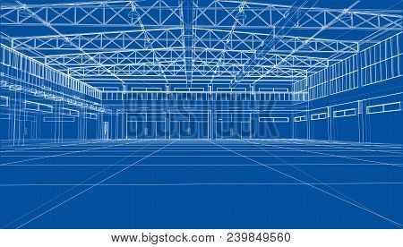 Interior Sketch. Vector Rendering Of 3d. Wire-frame Style. The Layers Of Visible And Invisible Lines