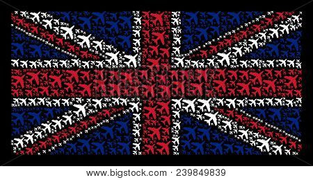 Great Britain Flag Composition Created Of Jet Plane Pictograms On A Dark Background. Vector Jet Plan