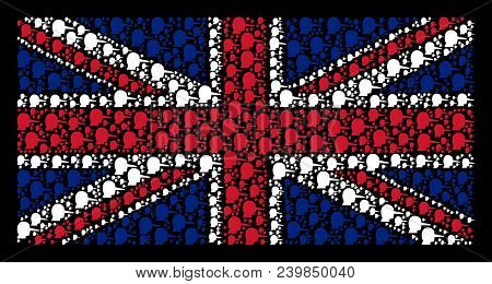 British Flag Concept Constructed Of Lier Pictograms On A Dark Background. Vector Lier Items Are Comb