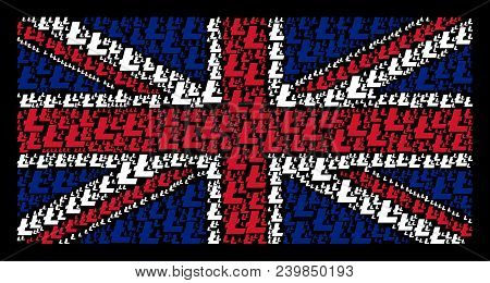 United Kingdom Flag Pattern Constructed Of Litecoin Icons On A Dark Background. Vector Litecoin Elem