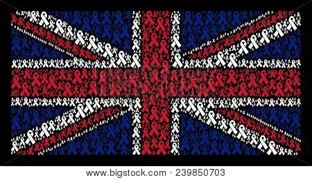 United Kingdom State Flag Concept Designed Of Mourning Ribbon Design Elements On A Dark Background.