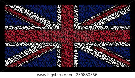 Uk Flag Composition Done Of Percent Icons On A Dark Background. Vector Percent Pictograms Are Organi