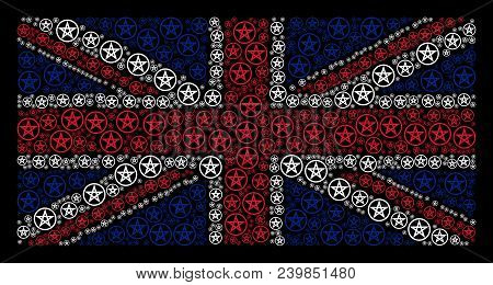 United Kingdom State Flag Mosaic Organized Of Star Pentacle Pictograms On A Dark Background. Vector