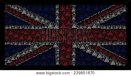 Great Britain Flag Pattern Combined Of Total Control Eye Pyramid Pictograms On A Dark Background. Ve
