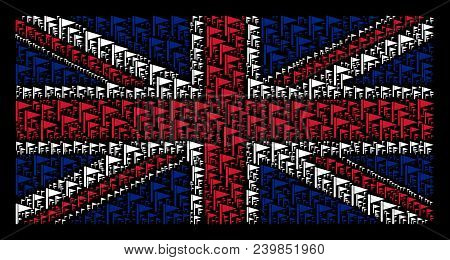 Uk State Flag Concept Composed Of Triangle Flag Icons On A Dark Background. Vector Triangle Flag Des