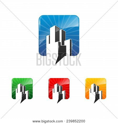 Bubble Chat Building Logo. Chat Icon. Real Estate Logo. Vector Template Ready For Use