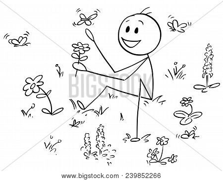 Cartoon Stick Man Drawing Conceptual Illustration Of Man Sitting In Meadow Between Wild Flowers And