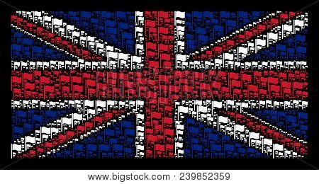 Uk Flag Mosaic Designed Of Waving Flag Icons On A Dark Background. Vector Waving Flag Elements Are C