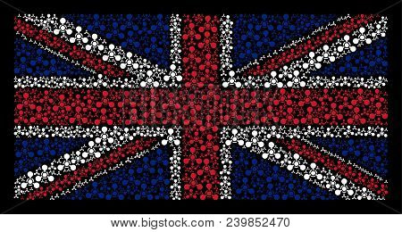 British Flag Composition Created Of Wmd Nerve Agent Chemical Warfare Icons On A Dark Background. Vec
