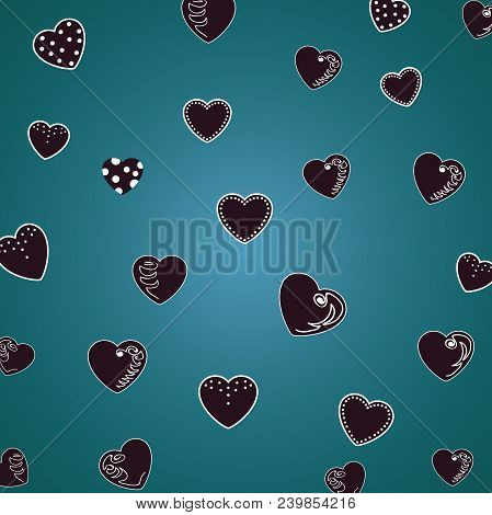 Beautiful Pattern Hearts On A Dark Green, Malachite Background. For Textiles, Fabrics. Romantic Cute