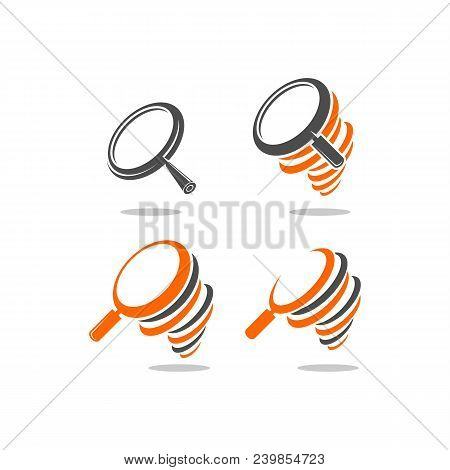 Magnifying Glass Icon, Magnify With Hurricane Logo. Vector Template Ready For Use
