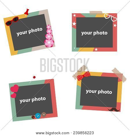 Photo Frames, Colorful Photo Frames For Photos, A Set Of Color Photo Frames. Flat Design, Vector Ill