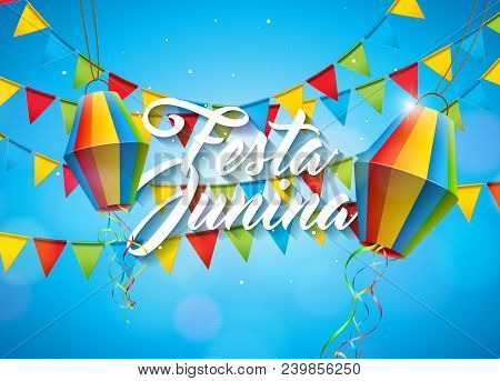 Festa Junina Illustration With Party Flags And Paper Lantern On Yellow Background. Vector Brazil Jun