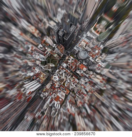 Aerial view of the city of Buenos Aires, area near the Congress building. Argentina. Blur filter applied