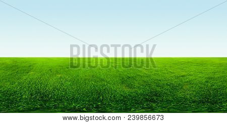 Spherical, 360 degrees, seamless panorama of the meadow with green grass and clear blue sky
