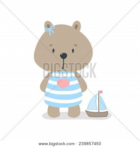 Cute Bear Sailor With A Toy Ship Cartoon Hand Drawn Vector Illustration. Can Be Used For T-shirt Pri