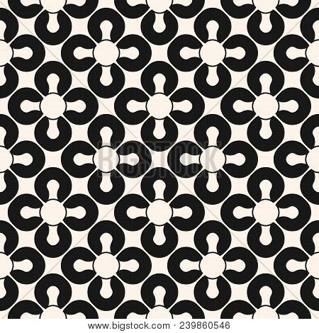 Abstract Seamless Pattern. Black And White Floral Ornamental Background, Repeat Geometric Tiles, Cur