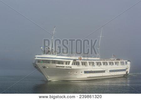 Fairhaven, Massachusetts, Usa - May 9, 2018:  Grande Caribe Cruise Ship Glows During Momentary Break