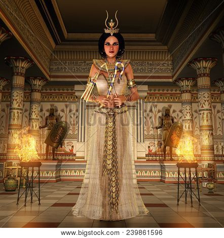 3d Render Of The Beautiful Last Egyptian Princess, Queen, Pharaoh, Cleopatra, In A Richly Decorated